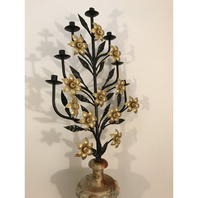 Gorgeous antique candelabra candle holder for 7 candles, displayed as a flower bouquet with the urn shape pedestal. The...