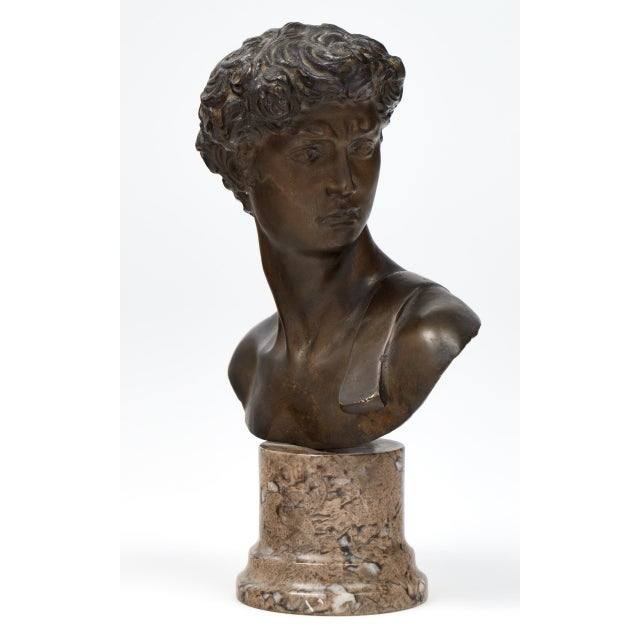 Italian French Antique Bust of David after Michelangelo For Sale - Image 3 of 11