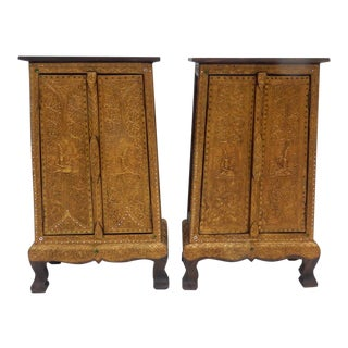 Thai Solid Teak Gilt Wood With Stones Cabinets - a Pair For Sale