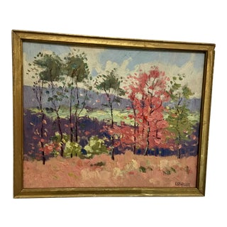 Late 19th Century Antique William Hasler Oil on Board Landscape Painting For Sale