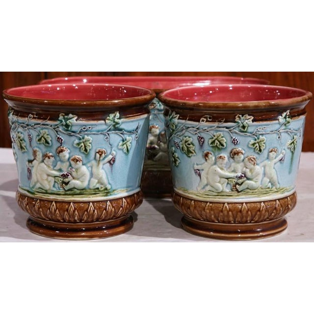 19th Century French Hand-Painted Barbotine Jardiniere & Cachepots - Set of 3 For Sale In Dallas - Image 6 of 8