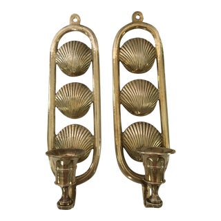 20th Century Traditional Solid Brass Candle Shell Wall Sconces - a Pair