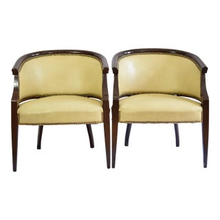 Late 20th Century Tan Barrel Leather Chairs- a Pair For Sale