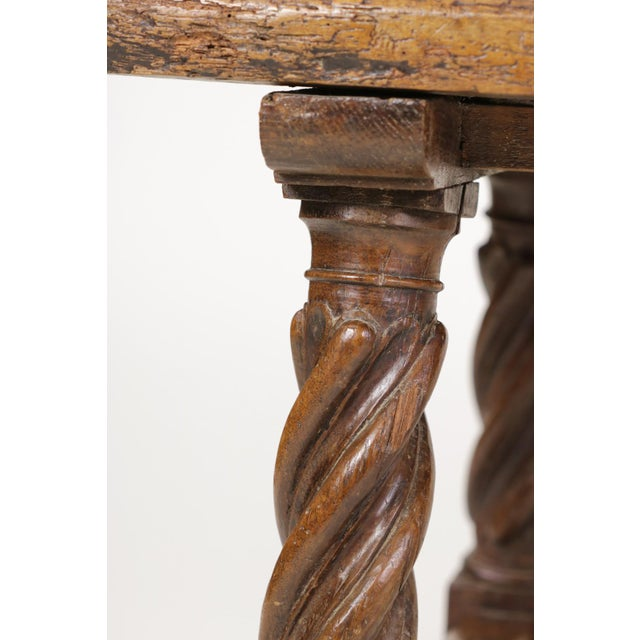 Brown Italian Walnut Low Table with Carved Barley Twist Legs and Twisted Iron Cross Stretchers, Circa 1800 For Sale - Image 8 of 13