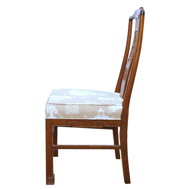 Mid 20th Century Vintage Chinoiserie or Ming Style Dining Chairs in Reverse Toile - Set of 4 For Sale - Image 5 of 7