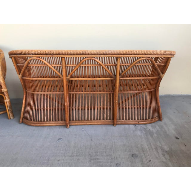 Franco Albini Mid Century Italian Rattan and Bamboo Chairs and Settee- 6 Pieces For Sale - Image 4 of 11
