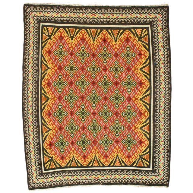 Antique Colorful Kilim Rug - 9′10″ × 11′1″ For Sale