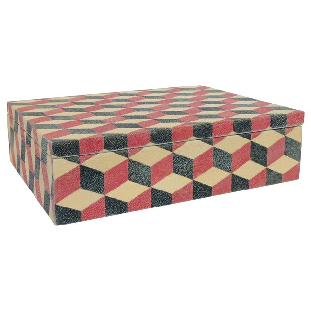 Red and Black Shagreen Box For Sale