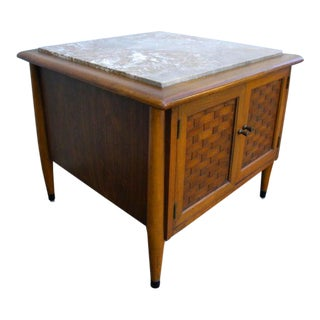 Mid Century Marble Top Low Nightstand Side End Table For Sale