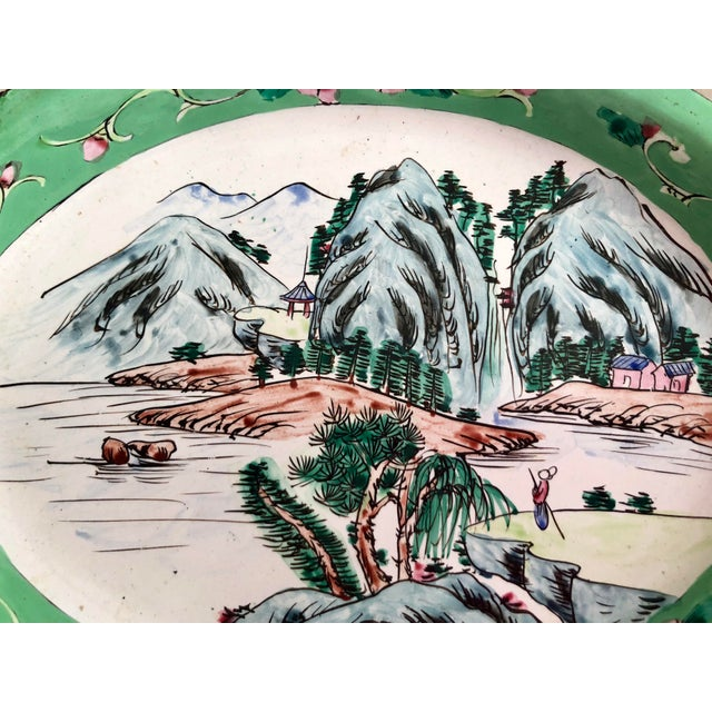 1930s Chinese Canton Hand-Painted Enamel Oval Dish With Mountain Scene For Sale - Image 4 of 6