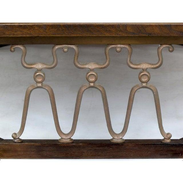 "John Van Koert John Van Koert ""Casa Del Sol"" Coffee Table Of Walnut & Cast Metal Scrollwork For Sale - Image 4 of 7"