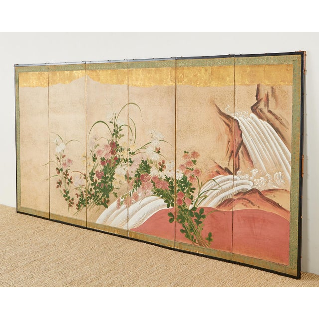 Beige Japanese Six Panel Meiji Screen Chrysanthemums and Waterfall For Sale - Image 8 of 13