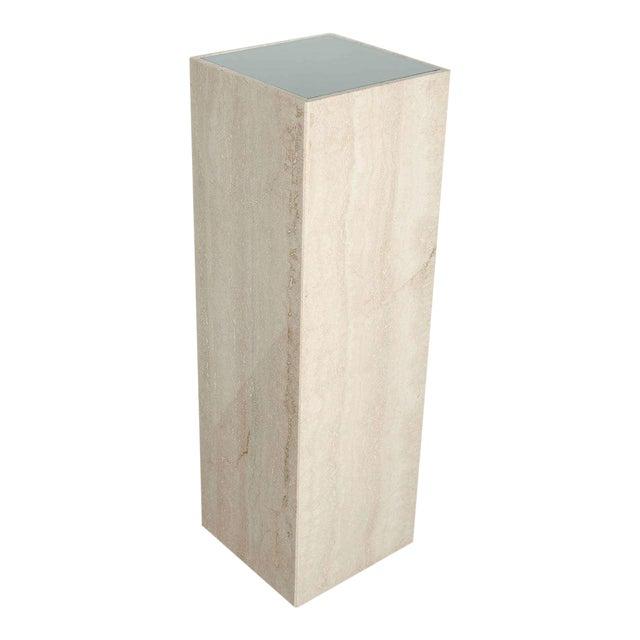 Mid-Century Modernist Travertine Marble and Glass Illuminating Pedestal / Column For Sale