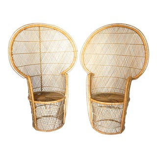 1970s Bohemian Rattan Peacock Chairs - a Pair