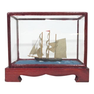 Miniature Model Sailing Ship in Wood & Glass Case