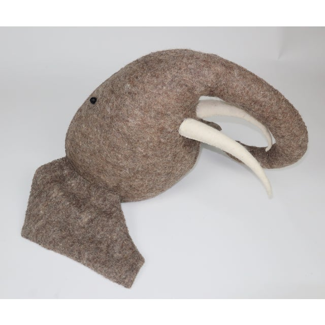 Brown Whimsical Large Wall Mount Felt Elephant Head For Sale - Image 8 of 12