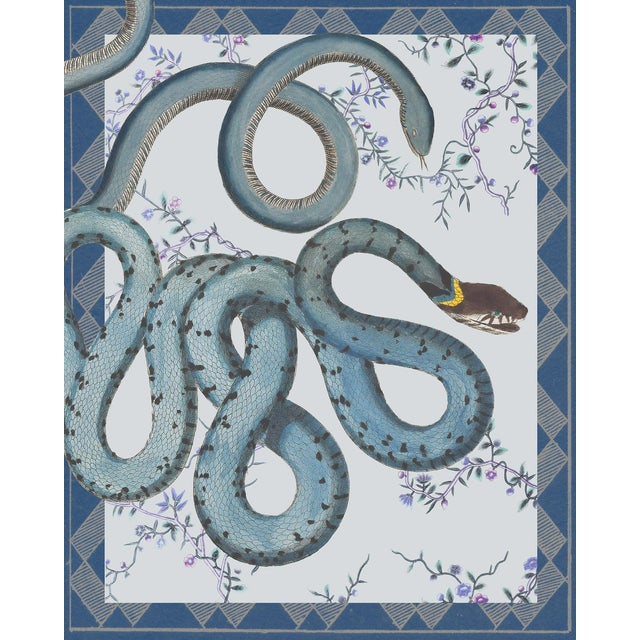 """Les Serpentes"" Snakes, Flowers, and Textile Pattern Blue Tone Print For Sale"
