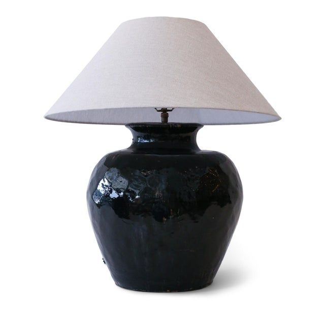 Black Glazed Terracotta Table Lamp For Sale - Image 10 of 10