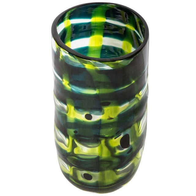 Mid 19th Century Mid-Century Modern Swedish Ann Wahlstrom Green Glass Vase For Sale - Image 5 of 5