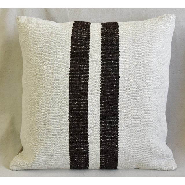 "Mid-Century Modern Organic Hemp & Cotton Turkish Kilim Feather/Down Pillows 23"" Square - Pair For Sale - Image 3 of 13"