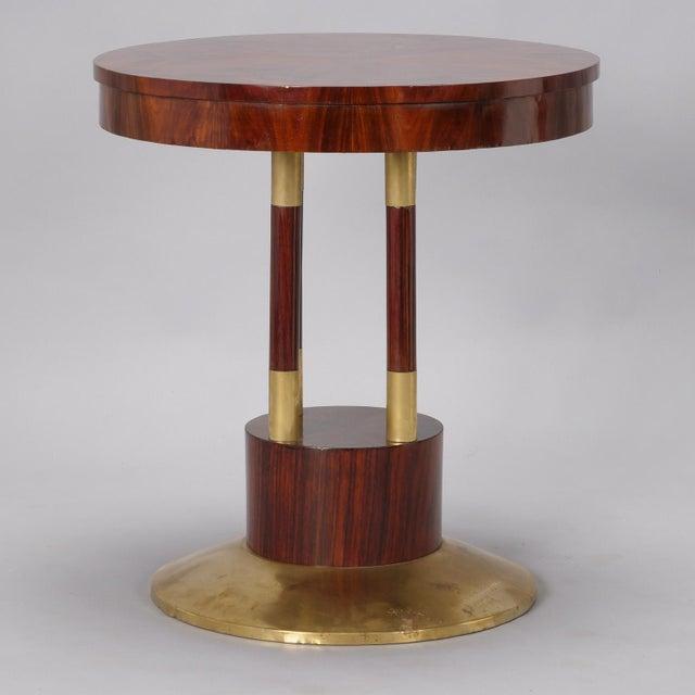 Art Nouveau Round Jugendstil Rosewood and Brass Pedestal Table For Sale - Image 3 of 7