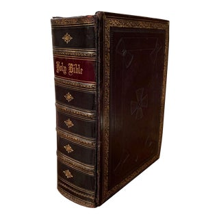 19th Century English Black Leather-Bound and Gilt Tooling Holy Family Bible For Sale