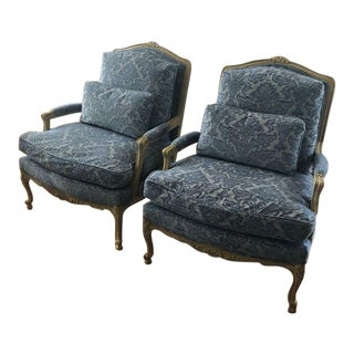 1930s Vintage Damask Bergere Chairs-a Pair For Sale