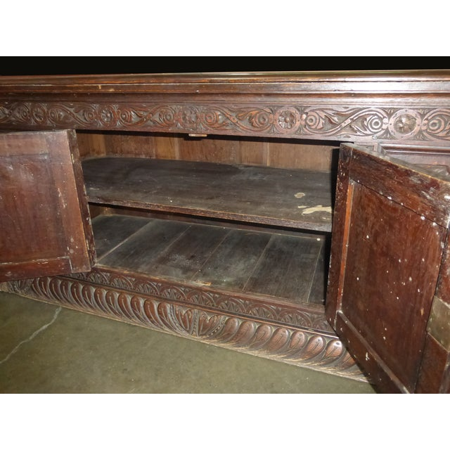 Antique European Detailed and Highly Carved Sideboard With Key - Image 6 of 10