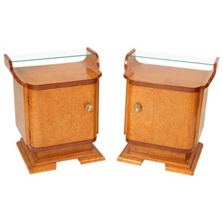 Art Deco Burl Ash End Tables - A Pair