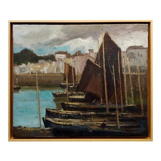 George Elmer Browne- Sail Boats at the Marina -Oil Painting For Sale