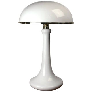 John Dickinson White Lacquered Table Lamp With Dome Shade