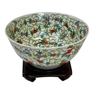 Vintage Chinoiserie Style Decorative Centerpiece Bowl on Stand For Sale