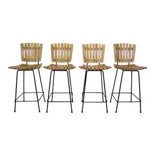 Arthur Umanoff for Raymor Mid Century Wood Slate & Wrought Iron Stools - Set of 4 For Sale
