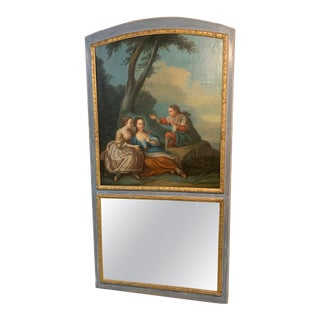 18th Century French Painted Trumeau Mirror For Sale