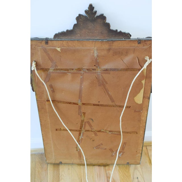 Fabric Vintage Wood Carved Golden Tone Wall Mirror For Sale - Image 7 of 8