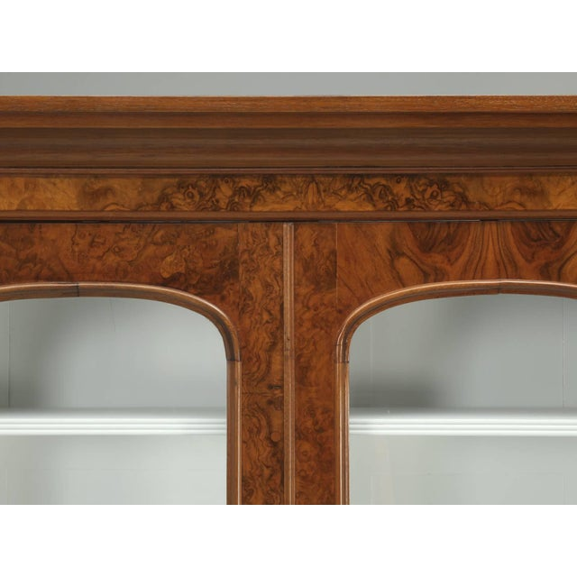 French Antique English Burl Walnut Bookcase, Circa Late 1800s and Correctly Restored For Sale - Image 3 of 10