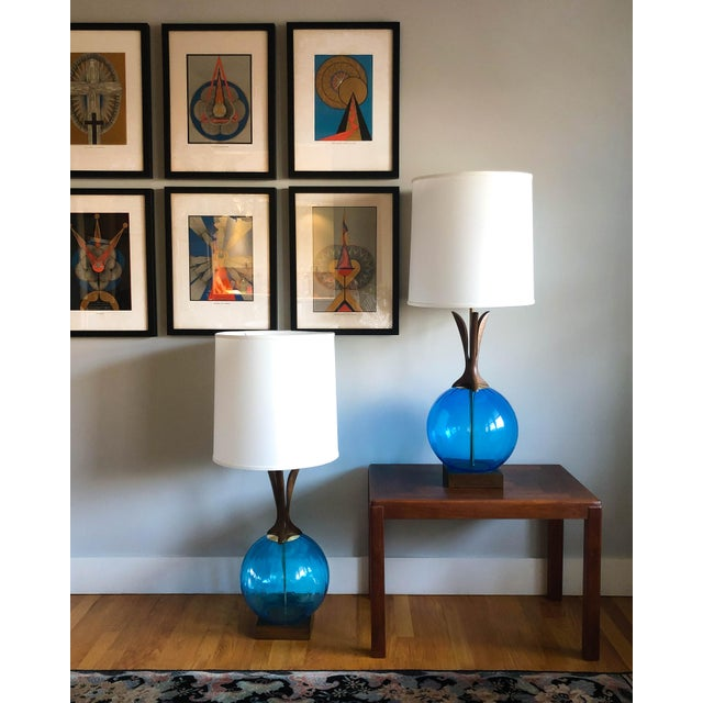 Pair of large, vintage walnut and blown glass table lamps, made in Denmark with an Adrian Pearsall / Modeline vibe. Shades...