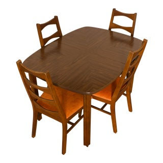 1950s Danish Modern Solid Wood Dining Set - 5 Pieces For Sale
