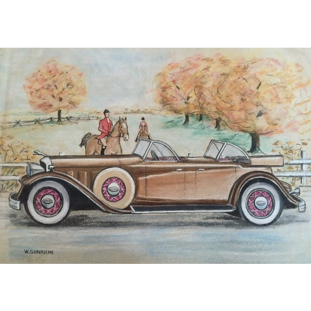 Original Vintage 1950's Pastel Lincoln Car Drawing - Image 6 of 6