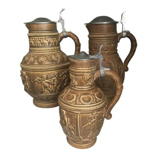Antique German Beer Stein Pitchers - Set of 3 For Sale