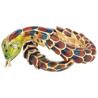 Vintage Snake Ring 18 Karat Gold Enamel Flexible Scales For Sale