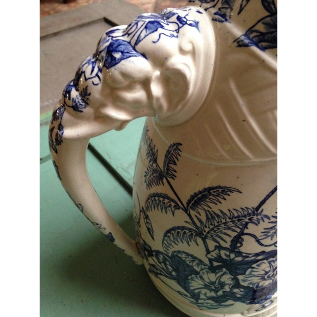 Antique Blue Transfer Ware Curved Pitcher For Sale In Dallas - Image 6 of 9