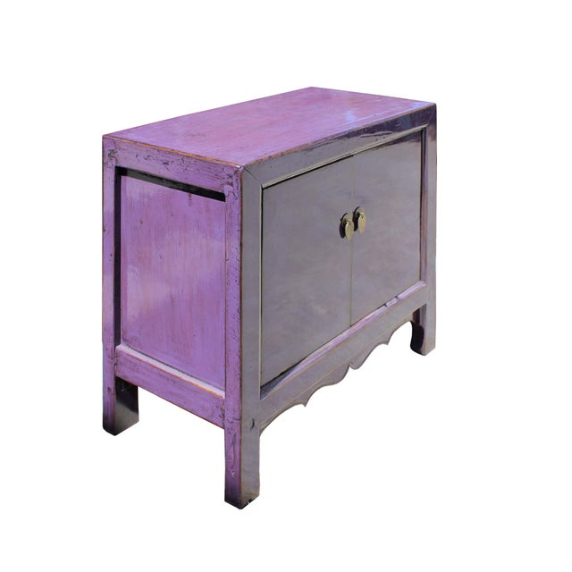 Oriental Simple Purple Lacquer Credenza Sideboard Buffet Table Cabinet For Sale - Image 4 of 6