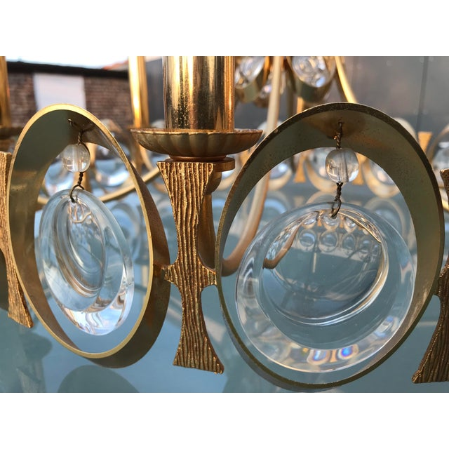 1970s Gold Brass and Crystal Palwa Chandelier Sciolari For Sale In Chicago - Image 6 of 7