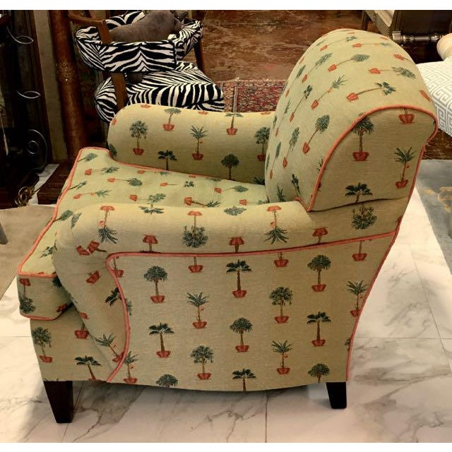 Traditional George Smith Yellow Upholstered Printed Club Chair - Image 3 of 11