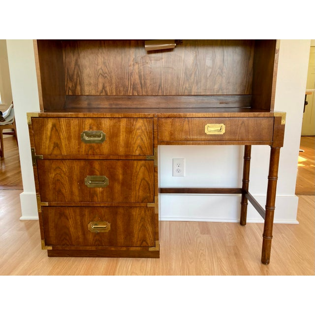 Dixie Late 20th Century Dixie Campaign Desk With Hutch For Sale - Image 4 of 13