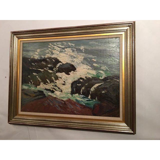 Framed Seascape Painting 'After the Blow' For Sale - Image 7 of 8