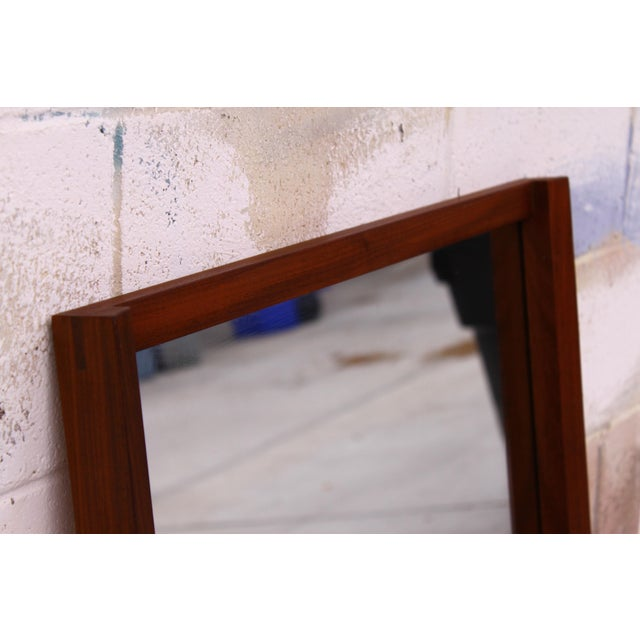 Brown Large Danish Teak Mid Century Wall Mirror For Sale - Image 8 of 11