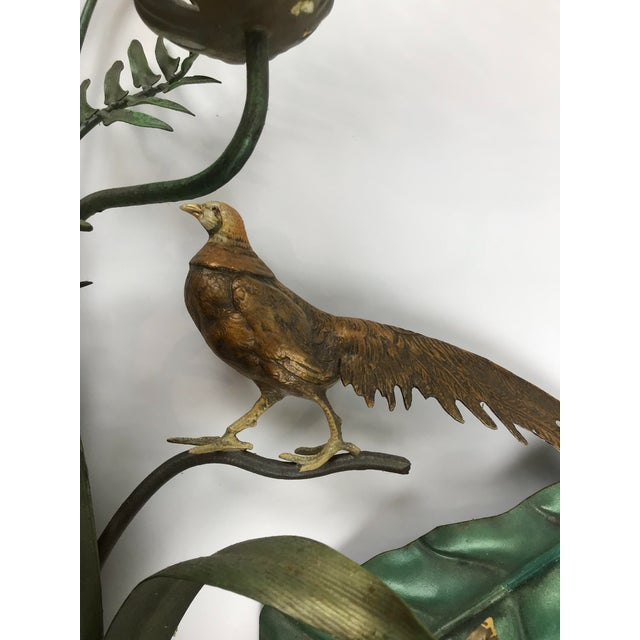 Vintage Italian Tole Wall Candle Sconce Pheasants Ferns Cattails For Sale - Image 10 of 11
