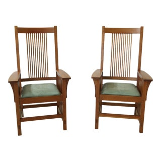 Stickley Cherry Mission Style Highback Armchairs - a Pair For Sale